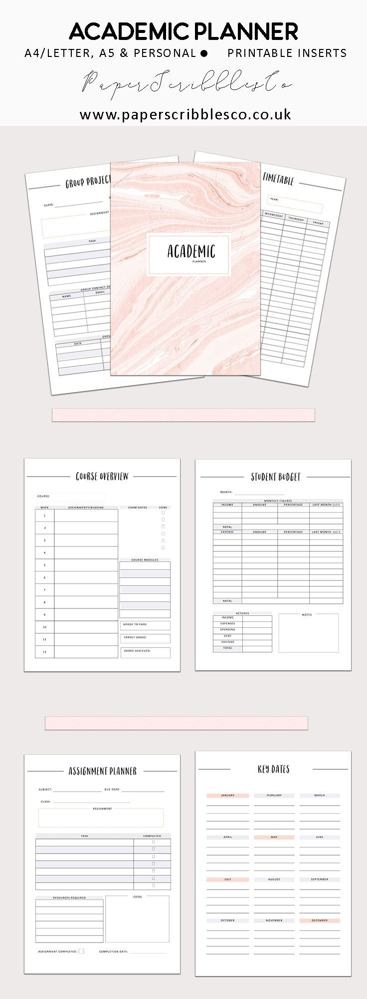 Academic Planner   Student Planner   College Planner   Printable Planners   Planning   Student Budget   College Planning   Planner Inserts   Printable Inserts   Planner Organization