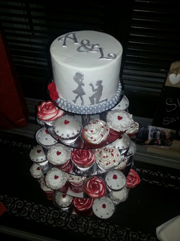 Red, white & silver engagement cake cupcakes