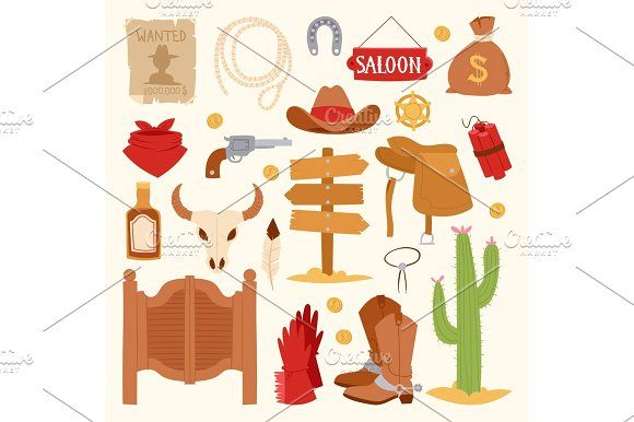 Wild west cartoon icons set cowboy rodeo equipment and different accessories vector illustration. @creativework247