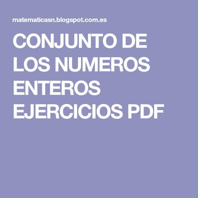 CONJUNTO DE LOS NUMEROS ENTEROS EJERCICIOS PDF