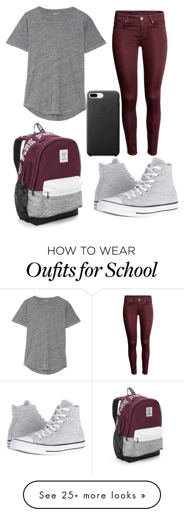 """""""School #9"""" by dairygrunt02 on Polyvore featuring Madewell, Converse and Victoria's Secret"""