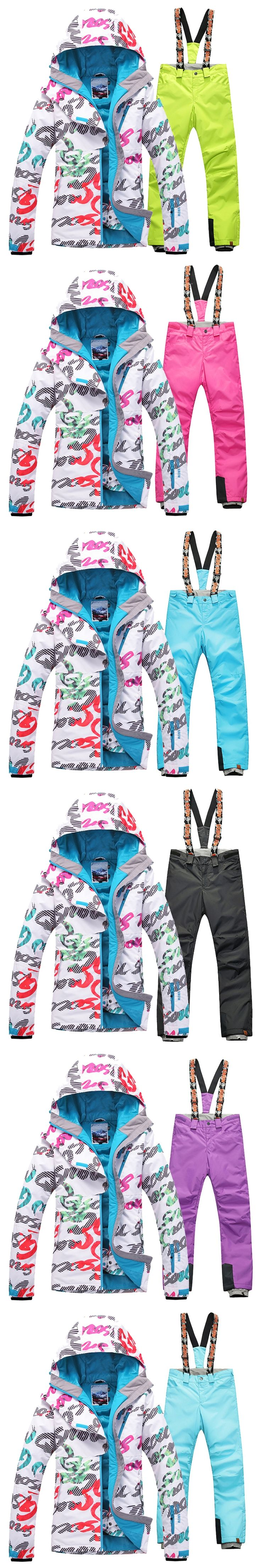 Gsou Snow Women Skiing Suit Waterproof Jacket and Pants Snowboarding Sets Winproof Breathable Professional Ski Suit Set