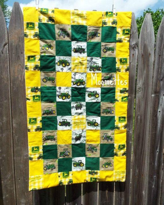 Jd Handmade Creations: John Deere Baby Blanket Patchwork Quilt Green Yellow Farm