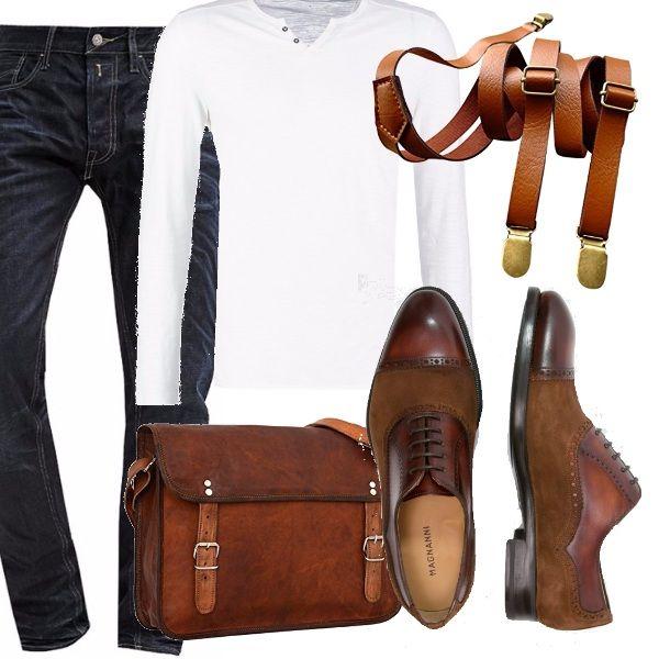 Il nostro hipster è un ragazzo e uomo non convenzionale, si ispira agli uomini bohemien della media alta borghesia, in questo caso vi consiglio un outfit soft per iniziare. Focus sulle bretelle e sulle stringate meravigliose, cartella in cuoio, jeans e semplice tee a manica lunga.