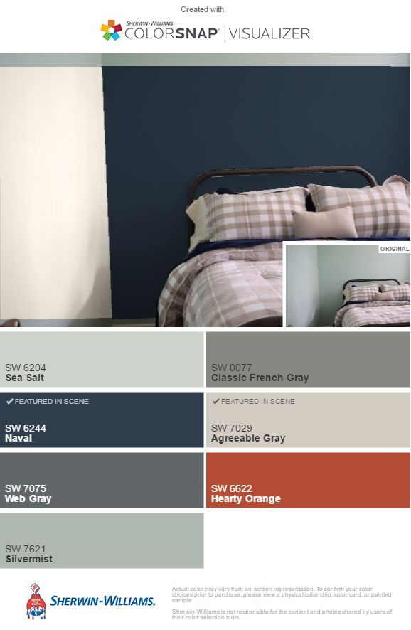 Inspiration Colors For Guest Bedroom Naval Sw Accent Wall