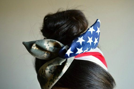 US Army American flag Camouflage Dolly bow head band, American flag head band, hair accessory made with navy blue and white stars mixed Digital Camo.