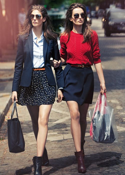like the red sweater look: Red Sweaters, Minis Skirts, Polka Dots Skirts, Ankle Boots, Street Style, Blazers, Fall Fashion, Navy, Work Outfits
