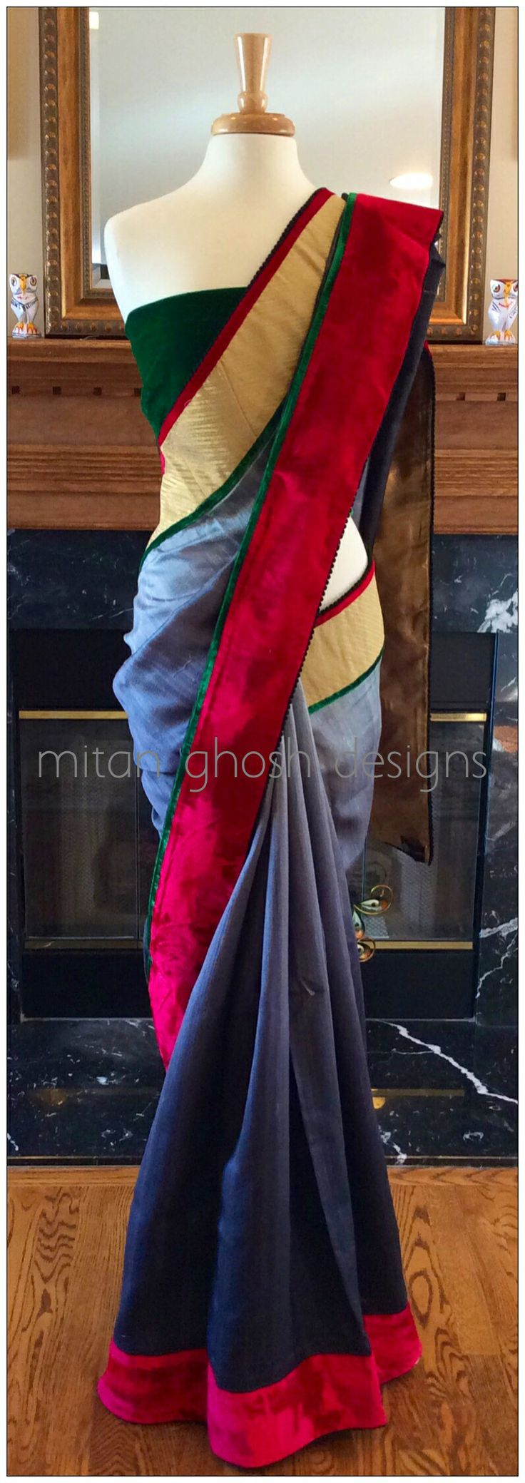 Shaded raw silk saree with green velvet blouse piece.