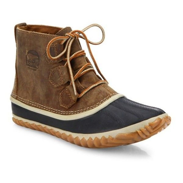 Sorel Out N About Leather Duck Boots ($115) ❤ liked on Polyvore featuring shoes, boots, ankle-boots, natural, ankle bootie boots, genuine leather boots, waterproof duck boots, leather boots and leather ankle boots