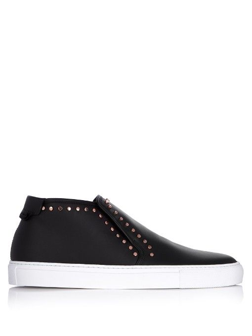 GIVENCHY Stud-embellished mid-top leather trainers. #givenchy #shoes #sneakers