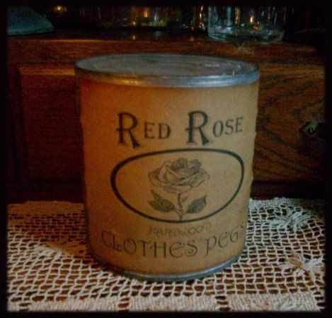 Red Rose Clothes Pegs clothes Pins Olde Tin by heartfeltprimitives, $12.95