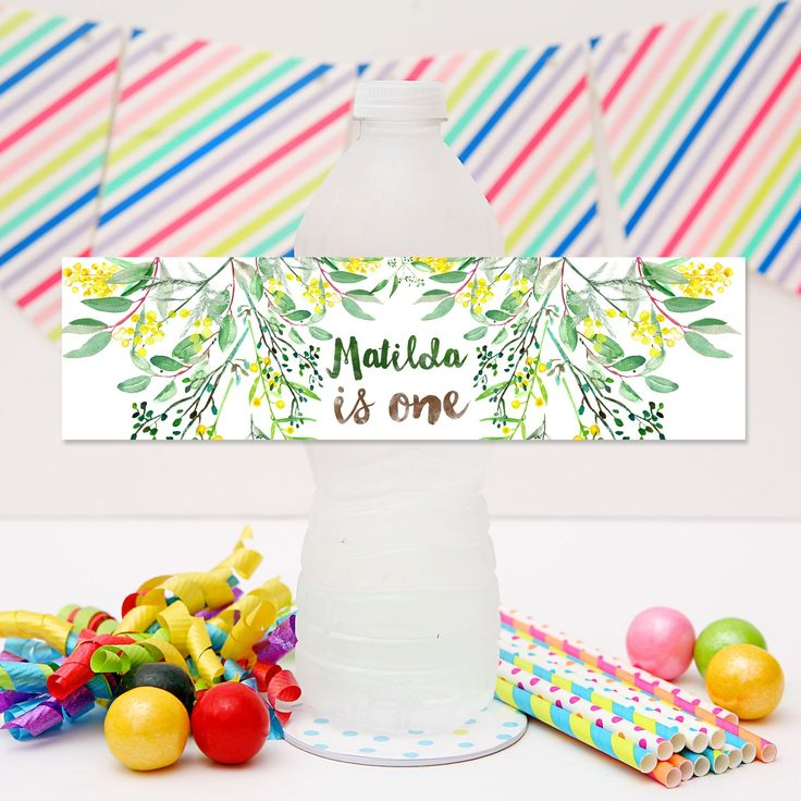 Gumnut Drink Labels | Australiana Party Personalised Water Bottle Labels.  Click to see details and for more matching Gumnut Australiana party printables from Print & Party
