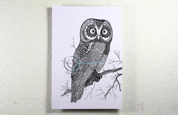 Limited edition Illustrated Psychedelic Owl by thesunandtheturtle, $2.50