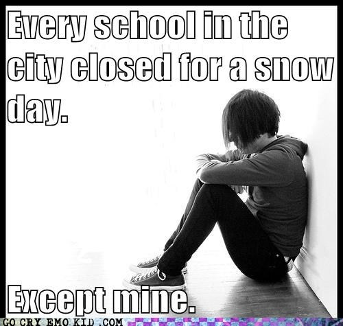 hate when that happens. you expect a snow day and stay up late but in the morning...