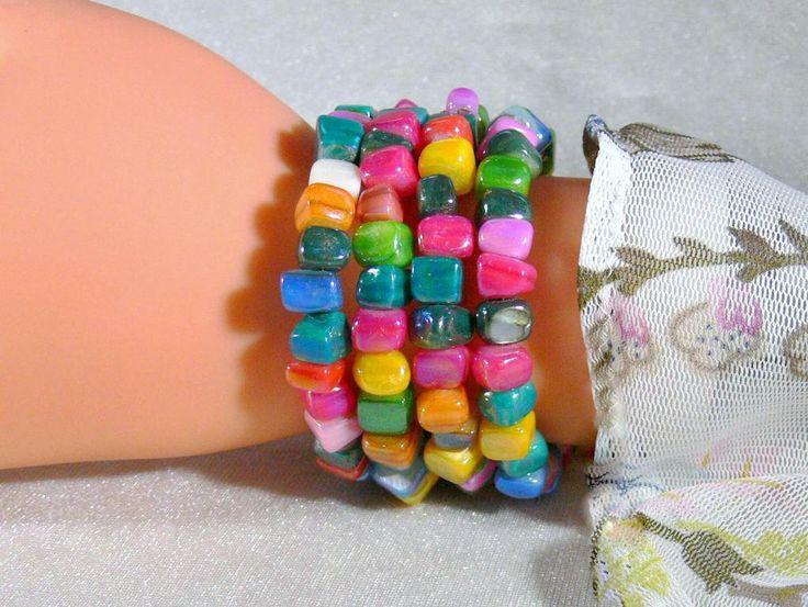 Perlmutt Armband Wickel Armband Memory Armband Spiralarmband Armreif Perlmutt…