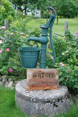 great old hand water pump. My mom pulled the pump handle up, hung their name from it, placed it in a half barrel with flowers and put it by the street and it was so awesome!!