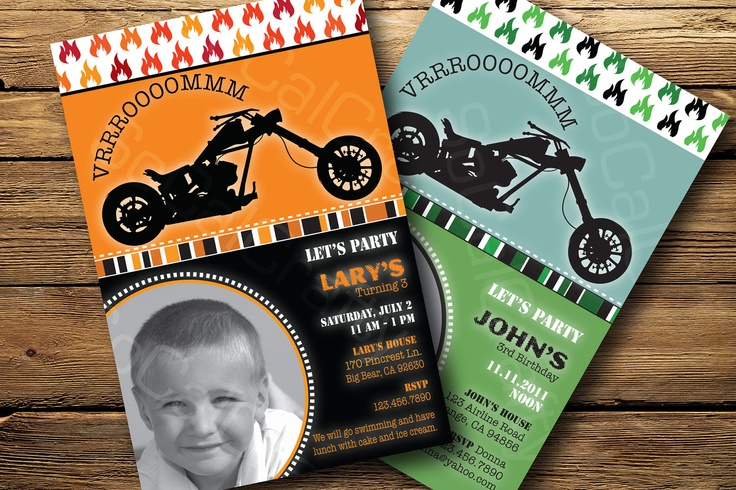 Motorcycle Themed Photo Birthday Party Invitation Digital or – Motorcycle Party Invitations