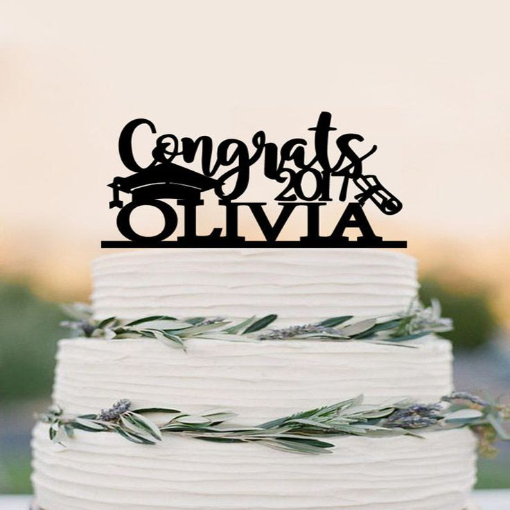 This Graduation Cake Topper is the perfect thing to top off your new graduate's cake! This will look beautiful for your graduation decorations. Beautifully scripted, personalize this topper with any n