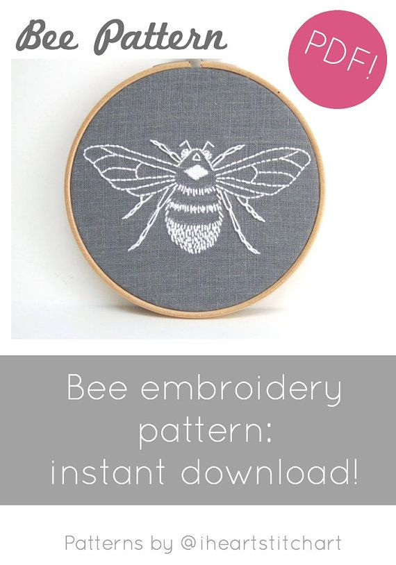 Bumblebee hand embroidery pattern/ downloadable needlecraft pattern! DIY pattern for modern embroidery - create to your hearts content. File