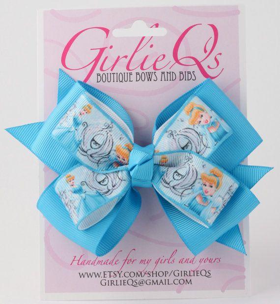 Disney Princess Cinderella Hair Bow Hair Clip 5 x 4 by GirlieQs, $6.00