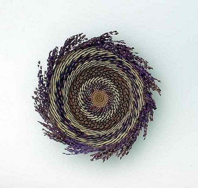 stunning coiled basket with long pine needles and lavendery by midnightcoiler on Flickr