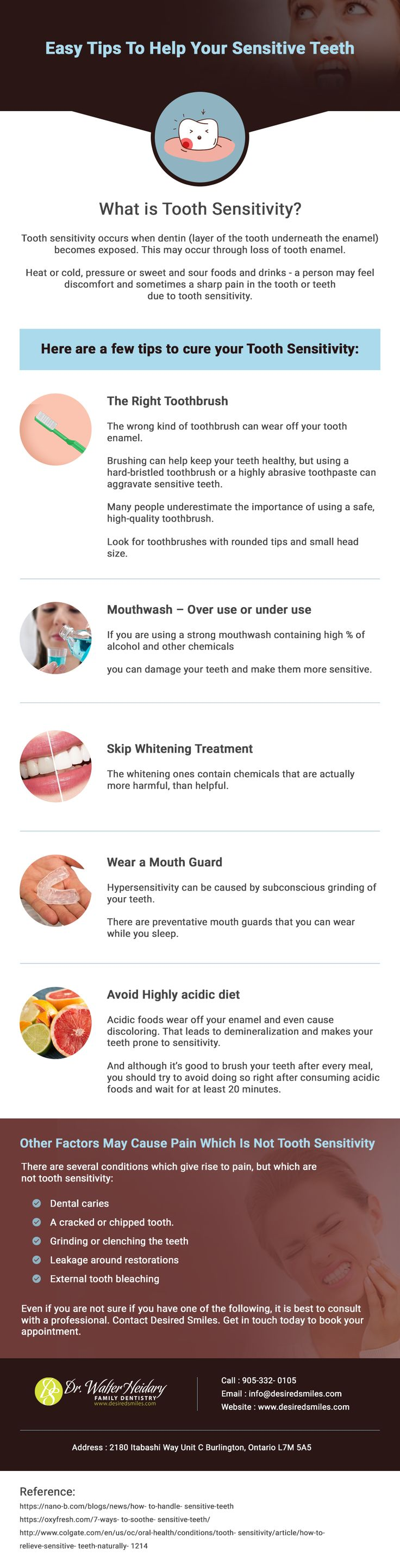Troubled with tooth sensitivity? Read this infographic for useful tips to treat sensitive tooth problems. Desired Smiles has the solution for all your dental problems. Visit www.desiredsmiles.com for any queries regarding your dental health problems.