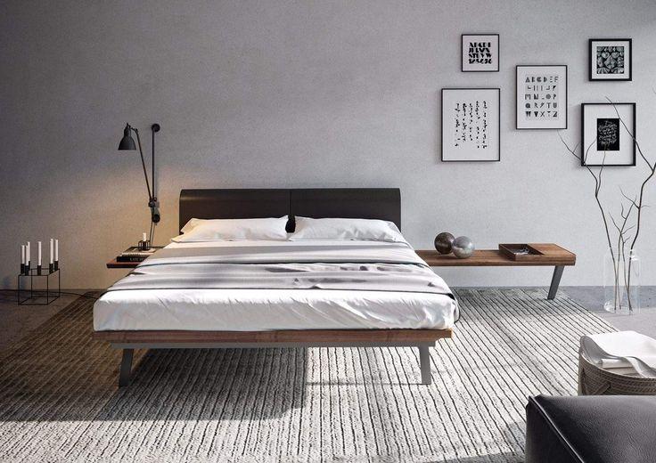 Hülsta komt met bijzonder mooie collectie slaapkamers : HULSTA MADERA bed design,kiri hout,hoofdbord leer,bruin,poot staal  www.slaapkennertheobot.nl