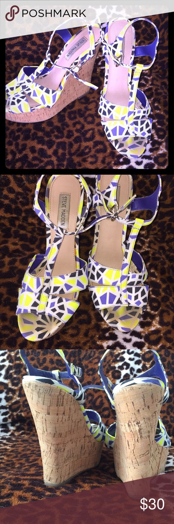 Steve Madden espadrilles Gorgeous tropical pattern espadrilles from Steve Madden. Used with love, these shoes will rock any summer party. Neon yellow with blue and white. Steve Madden Shoes Espadrilles