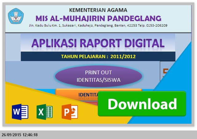 [Program .xlsx] Aplikasi Raport MTs KTSP Excel Gratis Revisi 2015
