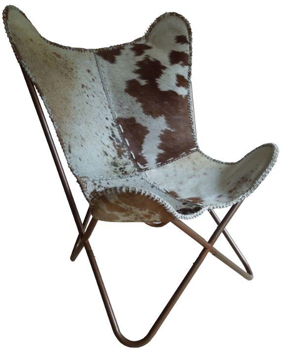 <p>Vlinderstoel koeienhuid. Als u echt iets Eigentyds en iets exclusiefs in uw huis wil hebben staan, iets waar iedereen spontaan verliefd op wordt.. Dan gaat u voor de Vlinderstoel! De stoel heeft de vorm van een vlinder en doet daarom zijn naam eer aan. In de Vlinderstoel kunt u lekker wegdromen met een boek of misschien wordt dit uw favoriete TV stoel. Kwaliteit ten top met een ontzettend dik koeienhuid leer. Kom hem gauw bekijken (op afspraak) of bestel hem alvast voordat hij weer…