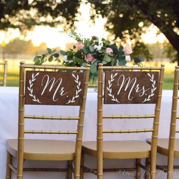 Mr And Mrs Signs Chair Table Sign
