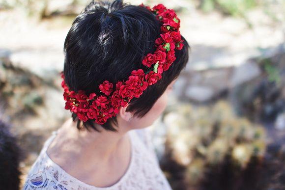 Coroa de Flores de rosas vermelhas