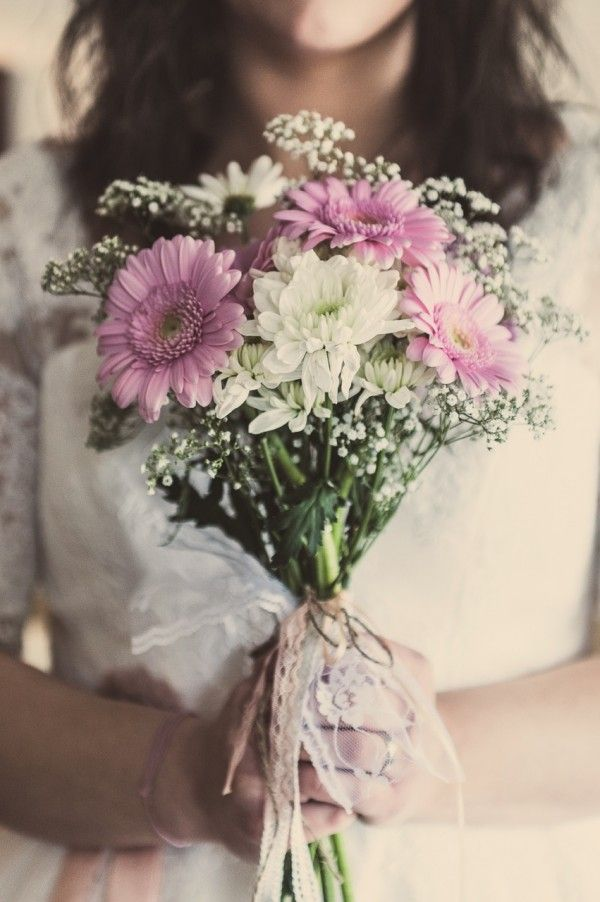 pink gerbera bouquet Rustic DIY Bedfordshire Wedding http://www.shearsmockford.com/