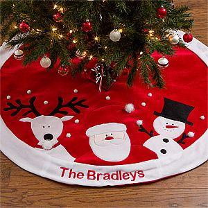 Personalized Christmas Tree Skirt - Santa, Reindeer & Snowman - 12434