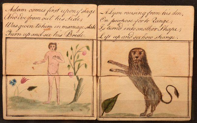 Ink and Watercolor Fraktur Metamorphosis. Adam and Eve, : Lot 1087