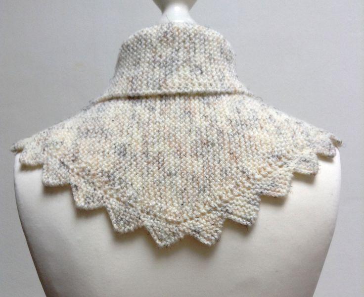 Petit châle couvre-épaules écru avec des ombres noires ou marron, au tricot bordure dentelée, pour femme, 100 : Echarpe, foulard, cravate par titlaine