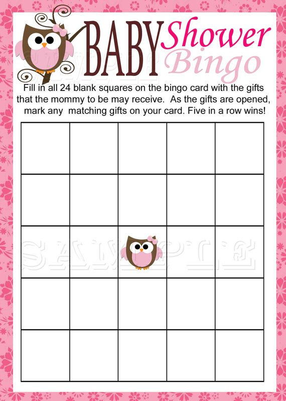 Baby Owl BINGO Game Printable Pink Baby Shower By M2MPartyDesigns