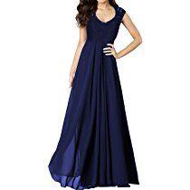 Miusol® Damen Elegant Spitzen Abendkleid V-Ausschnitt Brautjungfer Cocktailkleid Chiffon Faltenrock Langes Abendkleid Schwarz Größe 36-50