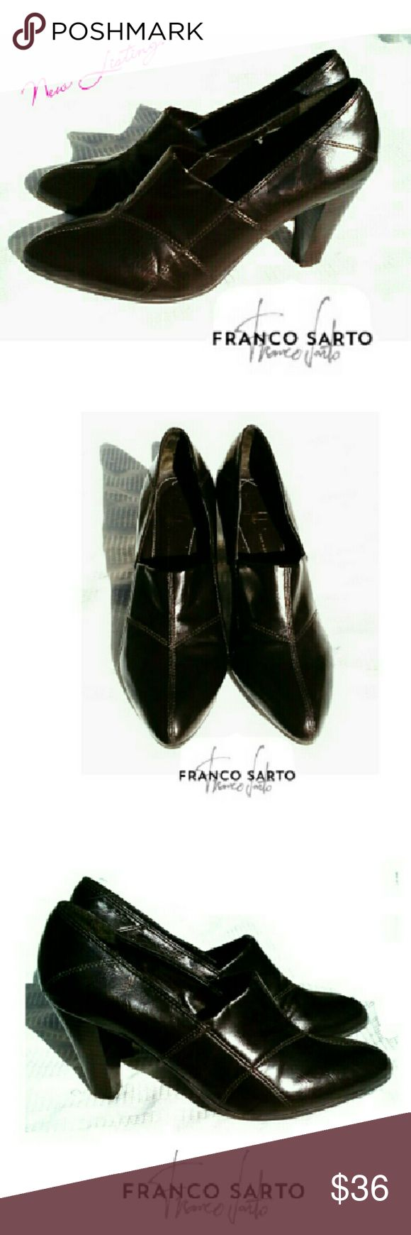 "FRANCO SARTO DRK BROWN HEEL SHOES FRANCO SARTO DARK BROWN HEEL SHOES Pre-loved / See Pics *   Dark Brown Manmade Material *   3 1/2"" Heel *   One Inside has Peeling Lining (Pic #4) *   Very Comfortable Shoe Pls See All Pics. Price Reflects Cond. Franco Sarto Shoes Heels"