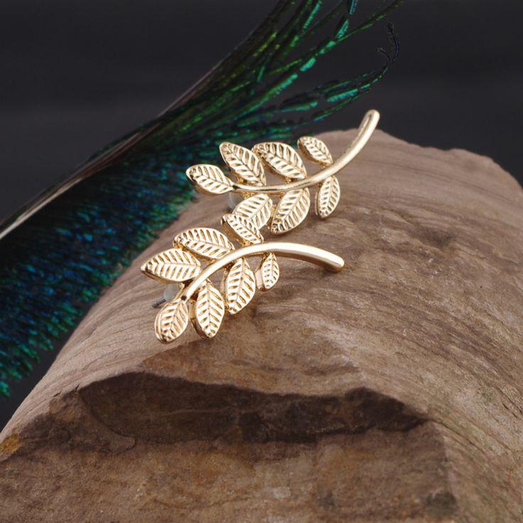 2016 Vintage Jewelry Brincos Girls Bijoux Leaves Ear Stud Earrings Exquisite Gold Beautiful Feather Leaf Earrings