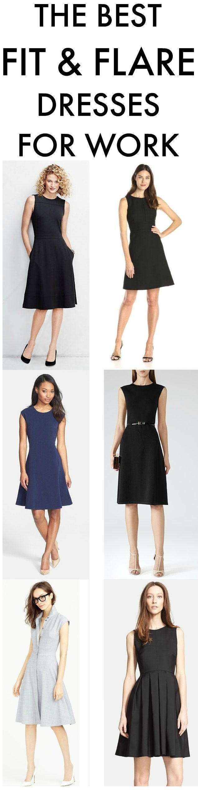 Fit and flare dresses make great work outfits -- we rounded up some of the best for all shapes and sizes.  Which are your favorite flared dresses for work? - white party dresses, shop for dresses, royal blue and white dress *ad