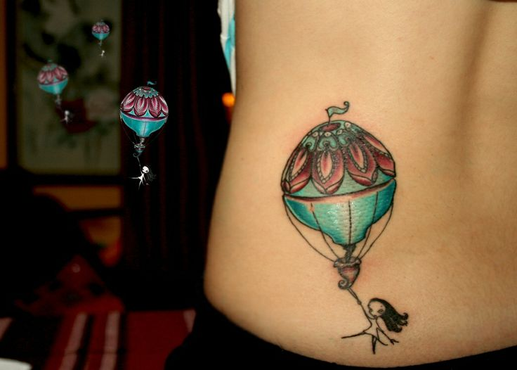 hot air balloon tattoo by dilek sumak