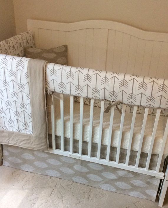Crib Bedding Set Taupe White Cream Arrows by butterbeansboutique