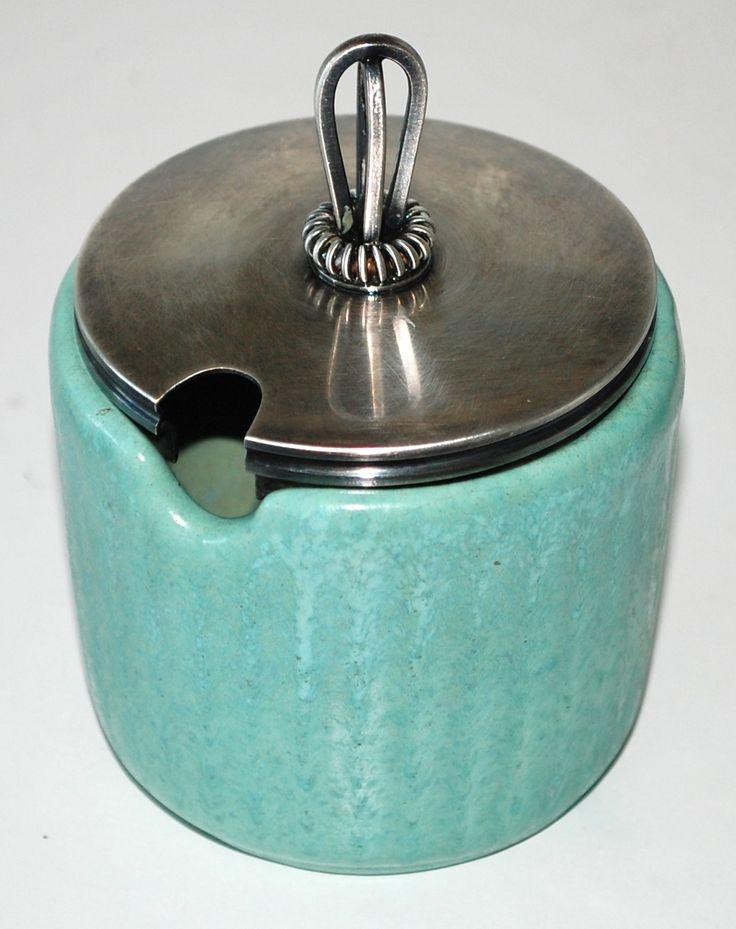 Michael Andersen & Son, Bornholm Denmark. Lidded vase in earthenware. The vase: H: 6,5 cm.