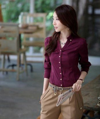 New Fashion Korean Style Ladies 39 Solid Color Simple Classic Long Sleeved Blouse Office Lady