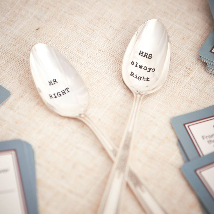A vintage set of silver plated tea spoons hand stamped with a choice of your own wording.  A witty and unique Valentines, anniversary, engagemnet, wedding or birthday gift which will raise a laugh for sure.