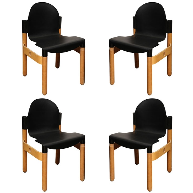 Set of Four Gerd Lange chairs for Thonet  USA  1960  Black Wood and Plastic Stackable Chairs