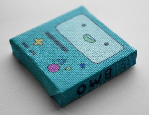 Adventure time bmo art mini painting acrylic on canvas for Things to do with mini canvases