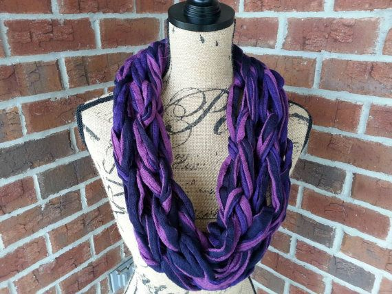 Purple and navy Arm knitted scarf neutral scarf by KatesHandiwork
