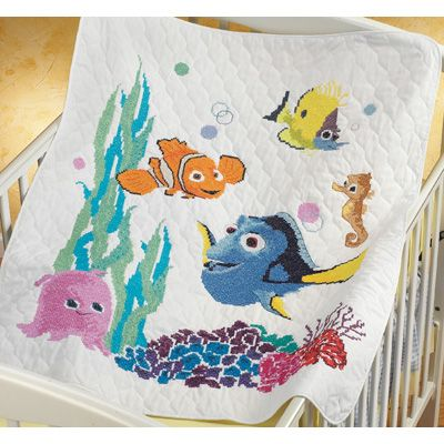 Janlynn Stamped Cross Stitch Baby Quilt Kit Nemo 34 X 43